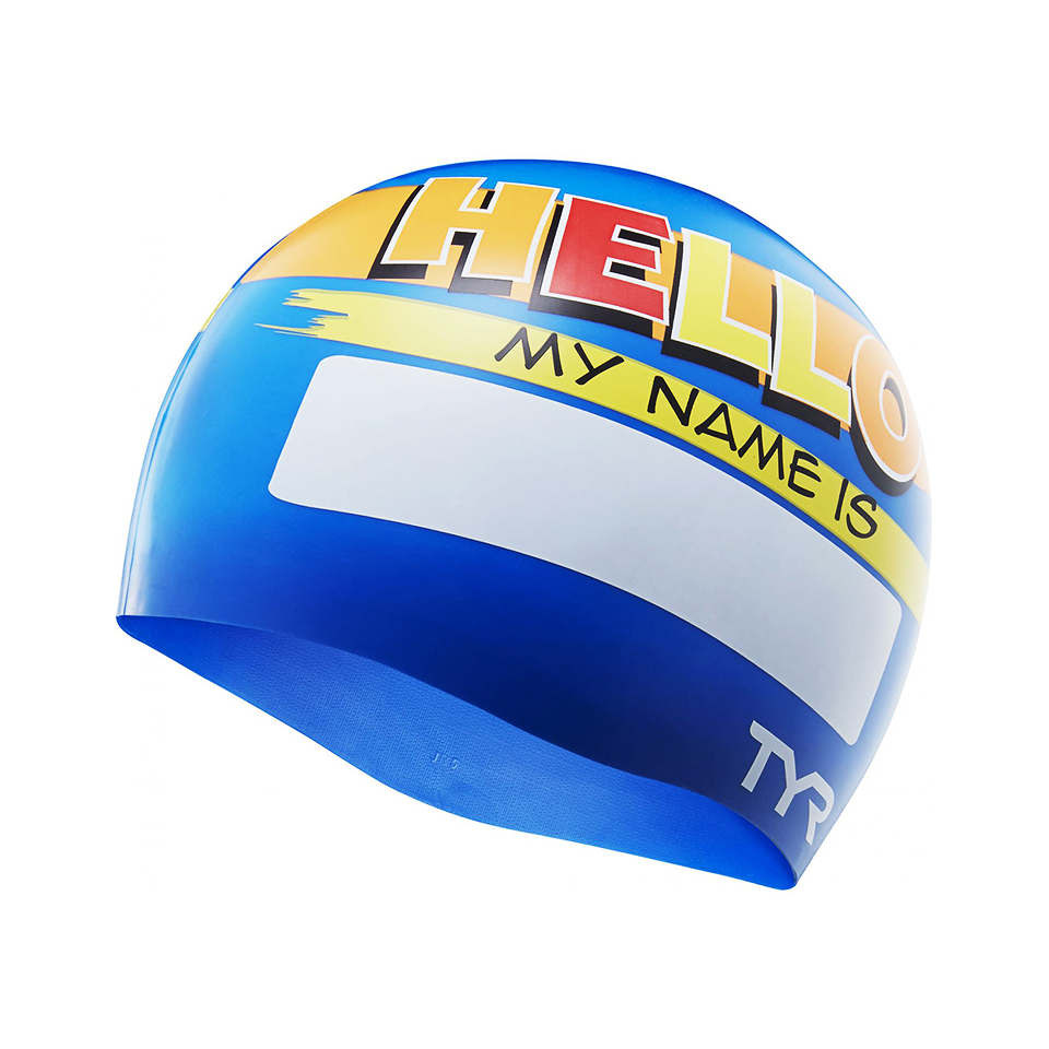 Nón bơi hoạ tiết TYR Hello My Name Is Silicone Youth Swim cap